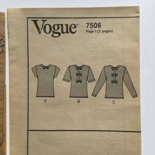 Vogue 7506 Pullover Blouse with Front Bow Details 6-10Uncut Pattern FF VTG 80's image 2