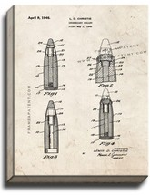 Incendiary Bullet Patent Print Old Look on Canvas - $39.95+