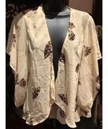 Vintage Style Beige Fan Kimono Duster Jacket - $35.64