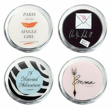 Kate Spade Round Coasters A Way With Words Assorted Titles 4 Piece Set New - $34.90