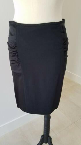 ARMANI COLLEZIONI Black Viscose Like Satin Panels Dress Skirt  Size 8