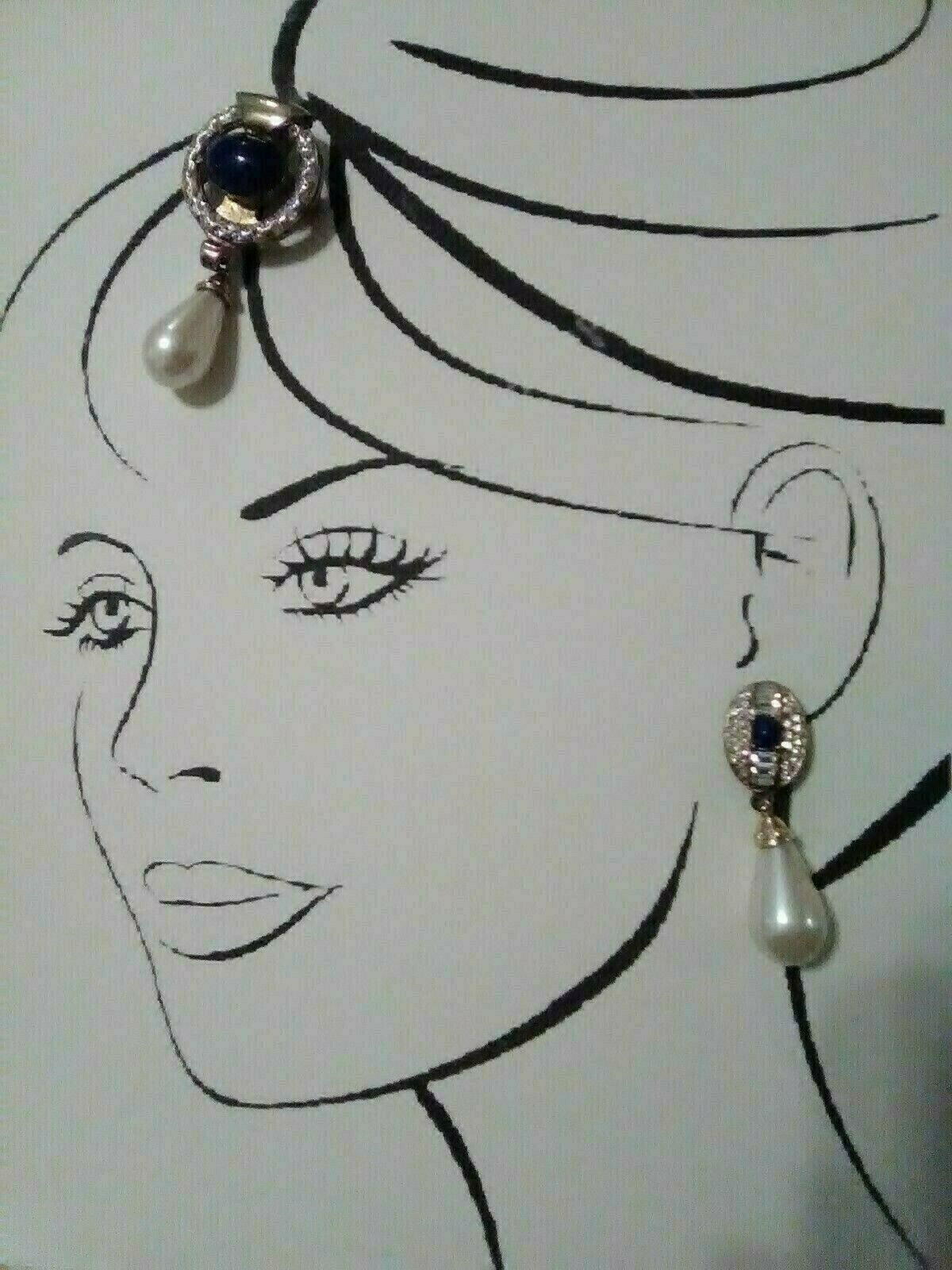 Primary image for VINTAGE ITALIAN FAUX LAPIS AND RHINESTONE PIN & EARRING SET GOLDTONE SETTING