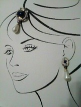 VINTAGE ITALIAN FAUX LAPIS AND RHINESTONE PIN & EARRING SET GOLDTONE SET... - $135.00