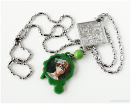Green Acrylic Pendant, Steel Chain, Green, Anime - $13.00