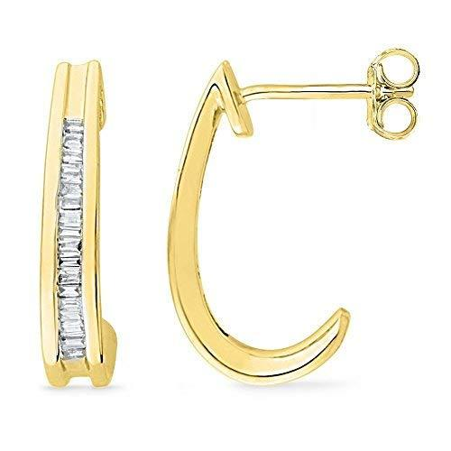 Primary image for 10kt Yellow Gold Womens Baguette Diamond Half J Hoop Earrings 1/6 Cttw