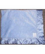 Baby Gap Blanket Solid Light Blue Satin Trim Soft Furry Luxe Bear Patch - $49.48
