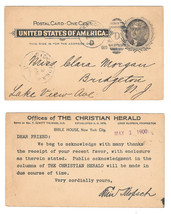 Postal Card UX14 1900 New York Duplex D Cancel Preprinted for Christian ... - $4.99