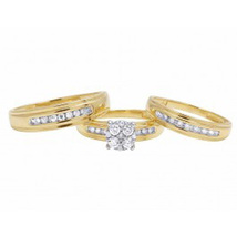 "1Ct Sim Diamond Men's-Women""s Trio Engagement Ring Set 14K Yellow Gold Plated  - $99.99"