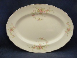 """Canonsburg Pottery Keystone Pink Roses Gold Trim 11 7/8"""" Oval Serving Pl... - $23.96"""