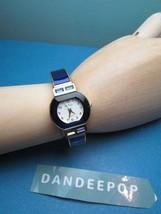 Da Vanci Cuff Hinged Bracelet Watch Quartz Japan Movement W/ Blue Gemstone - $19.79
