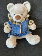 Build A Bear Denim Leopard Fur Jacket Skirt Outfit Plush Stuffed Reversi... - $29.69