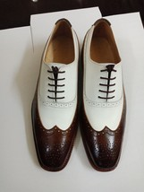 Wing Tip White Brown Premium Leather Oxford PartyWear Lace Up Handmade Men Shoes - $119.99+