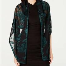 INC Green Black Floral Burnout Evening Wrap Shawl NWT International Conc... - $20.59