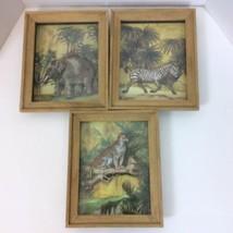 Three Jungle Zebra Elephant Leopard Shadow 3D Box Wall Decor Pictures 10... - $42.03