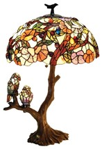 "Tiffany Style Birds 4 Light Double Lit Table Lamp 19"" Oval Shade Stained... - $260.67"