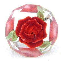 Vintage Clear Faceted Lucite Intaglio Embedded with Red Rose Flower Brooch Pin - $29.70