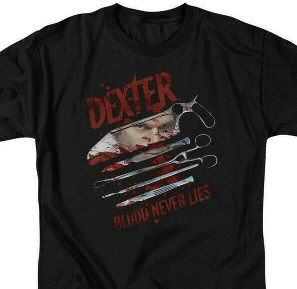 Dexter T-shirt Blood Never Lies graphic TV show printed cotton tee SHO202 Black