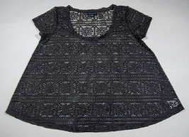 American Eagle Outfitters Womens Medium Top Charcoal Gray Lace Shirt - $13.45