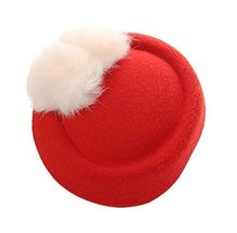 Wool Fedora Hat Small Hat Hairpin Side Clip Hair Accessories, Red