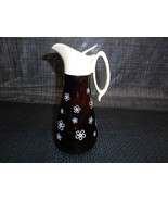 Antique Diner Restaurant AMBER GLASS SYRUP PITCHER Daisy Motif Tableware... - $29.69