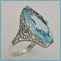 Antique Sterling Silver Prong Set Aquamarine Sapphire Oval Cut Gemstone Ring