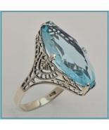 Antique Sterling Silver Prong Set Aquamarine Sapphire Oval Cut Gemstone ... - $102.95