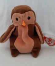 TY Beanie Babies Hoot Owl WHITE STAR, PVC PELLETS Style # RARE ERRORS Re... - $39.99
