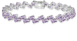 Sterling Silver Amethyst 5x3mm Oval Wave Tennis Bracelet - $241.41