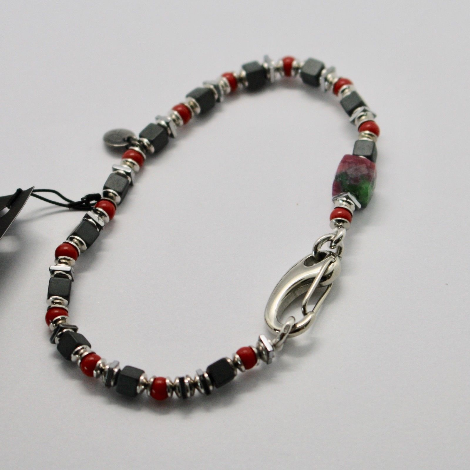 Silver 925 Bracelet Ruby Zoisite Coral Bpan-13 Made in Italy by Maschia