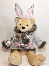 Bath & Body Works Snow Bunny Teddy Bear Plush Faux Fur Silver Jacket Rabbit Ears - $39.99