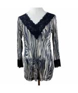 Karen Kane Tunic Top L Semi Sheer Zebra Animal Print Lace V Neck 3/4 Sl ... - $28.93