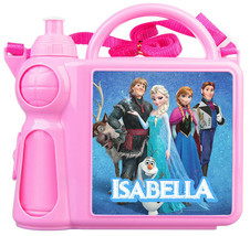Personalised Kids Lunch Box + Bottle Any Name Butterfly Frozen Girls Sch... - $19.34