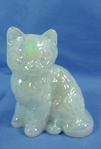 Fluffy Sitting Cat Pearl Solid Glass Kitty Kitten Feline Mosser Glass - $18.69