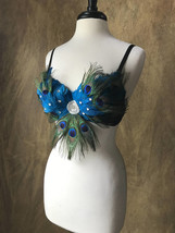 Pick Size-Turquouse Peacock Eye Feather Rhinestone Bra Top Moulin Burles... - $59.99