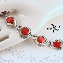Star Brand Red Thermoset Vintage 40s Bracelet - Silver Curved Leaves - H... - $47.87 CAD