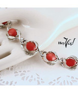 Star Brand Red Thermoset Vintage 40s Bracelet - Silver Curved Leaves - H... - £27.40 GBP