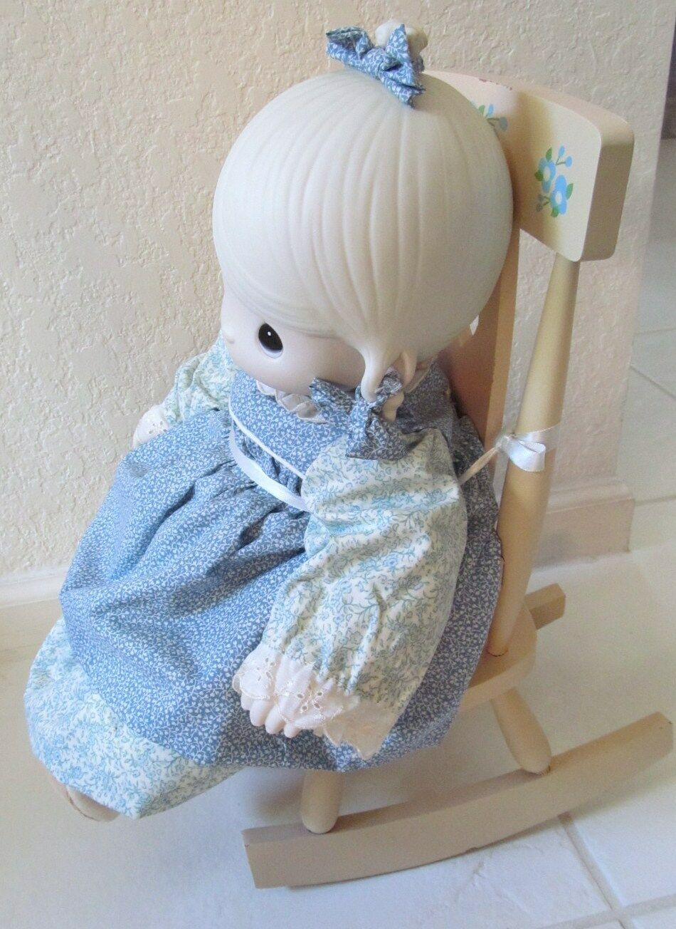 "Precious Moments Doll w Chair Rocker ""Mother Sew Dear"" Jonathan & David Signd 93"