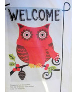 Welcome Owl Garden Flag 12 x 18 Fall Winter Holly Berries Pine Cone New - $10.99