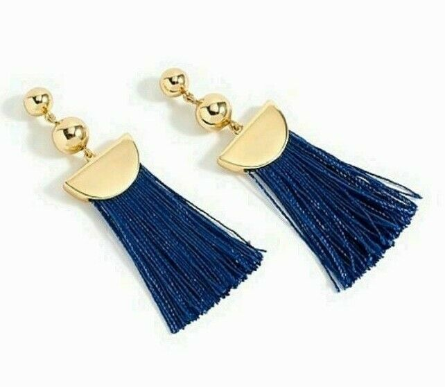 NWT J.Crew 100%Authentic Gold VIVID SEA Tassel Drop EARRINGS - $26.99