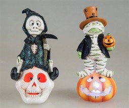 "Mummy Pumpkin Grim Reaper Skull Light Up Halloween Figurine 7"" H - $24.75"