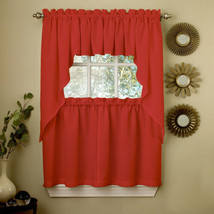 Red Opaque Solid Ribcord Kitchen Curtains Choice of Tier Valance or Swag - $10.99+