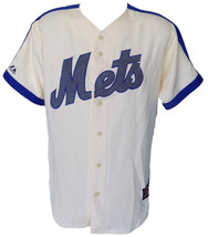 New York Mets Majestic Cooperstown Collection Cream Jersey Size Large - $106.65