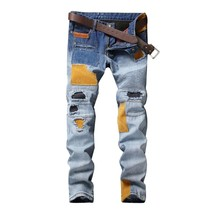 EU&US light blue patch jeans for men top quality jeans moto biker jeans, mens lo - $65.28