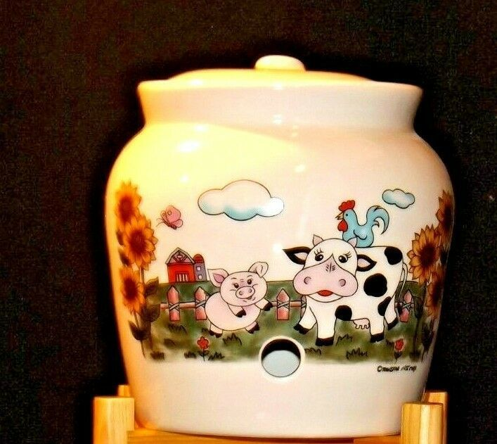 Cream colored Barnyard Stoneware Water Jug on wooden stand AA19-1583 Vintage