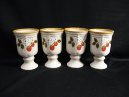 MIKASA EB 801 STRAWBERRY FESTIVAL 10 OUNCE FOOTED WATER GOBLETS - FOUR - $30.91