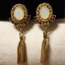 Vintage Etruscan Faux Opal Rhinestone Tassel Fringe Earrings - $35.00