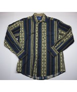 Wrangler Western Shirt Button Up Adult Men's Blue and Beige Western Style Shirt - $23.72
