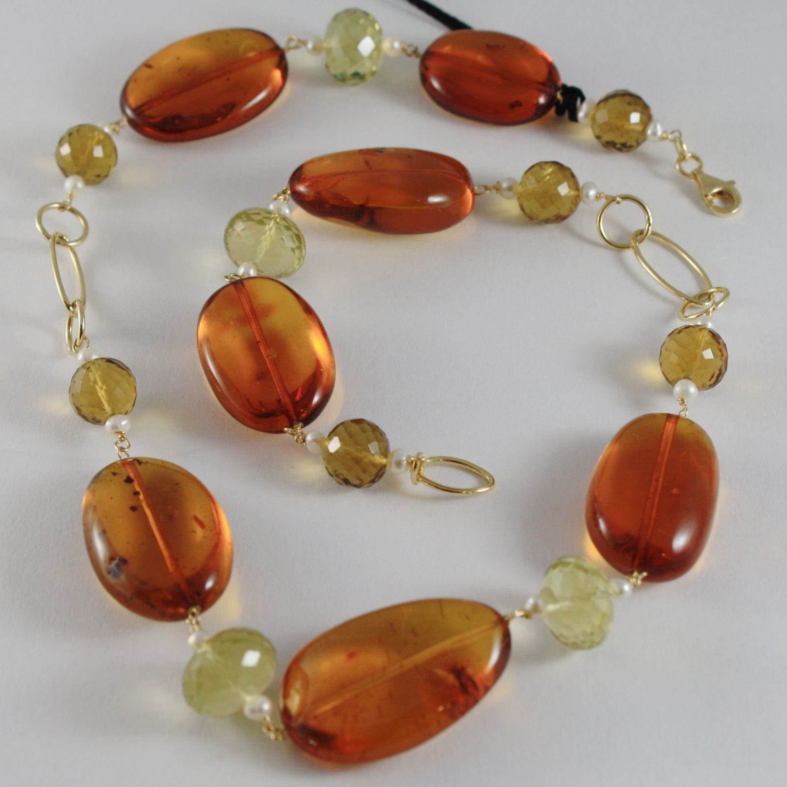18K YELLOW GOLD NECKLACE WITH BIG AMBER, LEMON QUARTZ, CITRINE, MADE IN ITALY