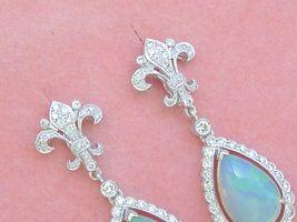 ART DECO 1ctw DIAMOND 3.5ctw OPAL PEAR DROPS FLEUR DE LIS STUD DANGLE EARRINGS image 6