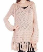 Small Women's California MoonRise Oversized Hooded Crochet Sweater Sand NEW